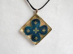 Gold Fleur De Lis Leather Resin Necklace Jewelry Accessory