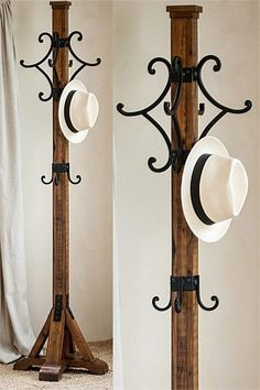 "Mina Coat Rack Handmade Alder Wood 4 Cast Iron Hook Hat Stand Hall Tree Mission Arts Crafts Craftsman Style ""The Mina"" Coat Rack - Listing - Rustic Home Decor Diy Diy Hat Rack, Hat Hanger, Hat Storage, Storage Ideas, Hat And Coat Stand, Coat Tree, Standing Coat Rack, Berber, Iron Furniture"