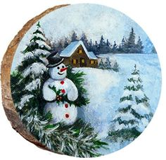 Snowman with Holly - Christmas Coasters, Painted Christmas Ornaments, Wooden Christmas Trees, Hand Painted Ornaments, Rock Crafts, Christmas Crafts, Thin Ribbon, Christmas Gift Tags Printable, Small Canvas Art