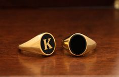 signet ring man, pinky ring, man gold ring, created in any ring size desired. Black Onyx Ring, Black Rings, Black Gold, Mens Gold Rings, Rings For Men, Gold Man, Silver Claddagh Ring, Signet Ring, Ring Ring