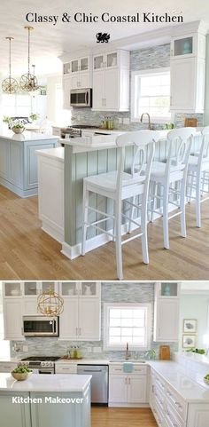 This amazing Coastal Kitchen Makeover has white kitchen cabinets, a seaglass blue coastal backsplash, mixed metals and weathered oak floors. Kitchen Ikea, White Kitchen Cabinets, New Kitchen, Kitchen Decor, Kitchen Backsplash, Backsplash Ideas, Kitchen Island, Oak Cabinets, Blue Backsplash