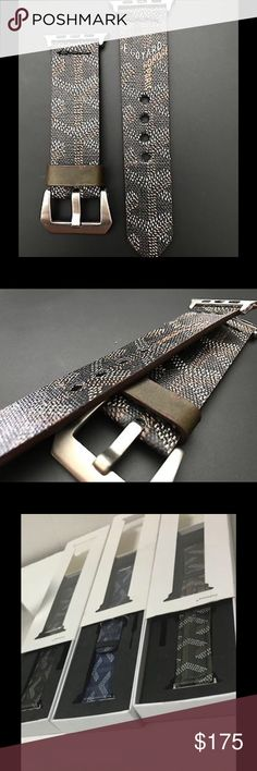 Authentic Goyard Apple Watch Strap Goyard Apple Watch strap handmade from 100% authentic Goyard bag material. Currently have red, black, and blue in stock. All 3 colors available for both the 38mm and 42mm Apple Watch. Upon checkout please indicate your preferred color and size. Open to reasonable offers. Please inquire about discounted pricing! Please ask any questions. Thanks and have a great day :) Goyard Jewelry