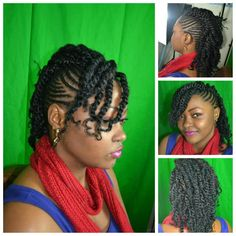 Cornrows to a Mohawk with two strand twist