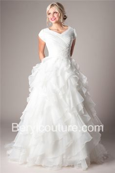Modest Ball Gown V Neck Sleeves Organza Ruffle Wedding Dress With Crystals