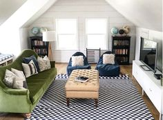 I like the simple plank wall in this family room. I saw it in person during the Utah Parade of Homes and loved the whole house but especially this cute attic space. Home Tour- Eclectic Family Room and Gorgeous White Kitchen Attic Apartment, Attic Rooms, Attic Spaces, Attic Bathroom, Home Design, Attic Design, Design Design, Design Ideas, Attic Renovation