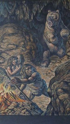 A family group of Neanderthals are confronted by an angry Cave Bear by Mark Hallett Prehistoric World, Prehistoric Creatures, Cave Bear, Primitive Survival, Early Humans, Stone Age, Fauna, Science And Nature, Mammals