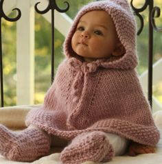 knitted baby poncho with hood and booties to match -- So cute!!!