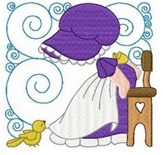 Sunbonnets and Birds Blocks Set, 12 Designs - 4x4   What's New   Machine Embroidery Designs   SWAKembroidery.com Fun Stitch
