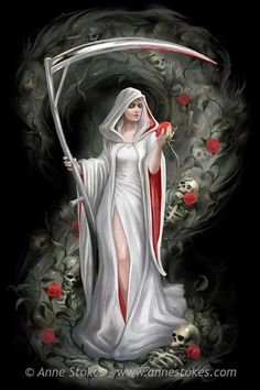 Anne Stokes well known for her stunning fantasy artwork. Based in Leeds, Yorkshire, Anne Stokes is married with a young son. Fantasy Eyes, Gothic Fantasy Art, Fantasy Kunst, Dark Fantasy Art, Fantasy Artwork, Dark Art, Dark Gothic Art, Grim Reaper Art, Grim Reaper Tattoo