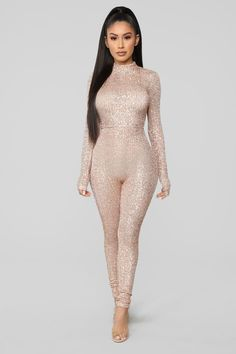 3c8a87fcf9db She s A Star Sequin Jumpsuit - Rose Gold