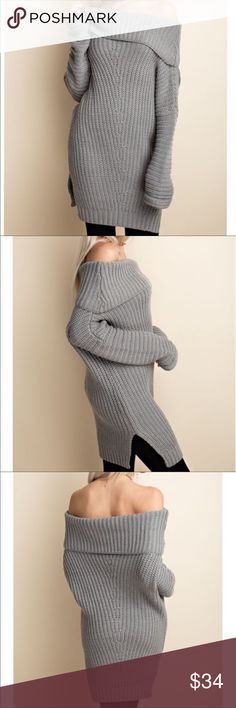 Oversized cable Knit Off Shoulder Knit Sweater Oversized cable Knit Off Shoulder Knit Sweater Tops Tees - Long Sleeve