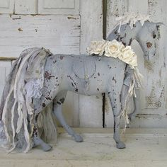 Painted horse statue romantic gray shabby French cottage figure embellished w/ roses rhinestone and tattered fabric anita spero design