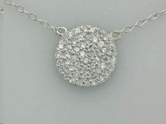 Sterling Silver Necklace With Round Disc Pendant With Cz's - See more at www.NoesJewelry.com
