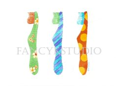 763 TOOTHBRUSHES  original MATTED  watercolor by fancykstudio, $40.00