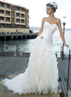 Perfect White Mermaid Sweetheart Sleeveless Ruffles Wedding Dresses
