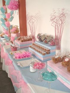Mesa rosa y azul dessert buffet, candy buffet, candy table, dessert tables, Candy Table, Candy Buffet, Ideas Para Fiestas, Frozen Party, Childrens Party, Holidays And Events, Party Themes, Party Ideas, Birthday Parties