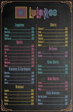 11x17 Inch LuLaRoe Price List Updated with New Styles for 2016 by TimelessVisionStudio on Etsy