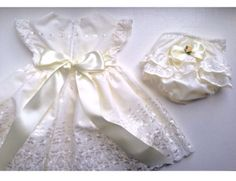 Baby girl dress with matching nappy cover diaper cover gift set baptism dress christening gown by LittleDollsAndDudes on Etsy https://www.etsy.com/uk/listing/539457139/baby-girl-dress-with-matching-nappy