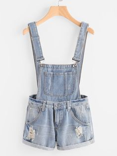 To find out about the Distress Cuffed Denim Dungaree Shorts at SHEIN, part of our latest Denim Overalls ready to shop online today! Denim Dungaree Shorts, Jumper Shorts, Salopette Jeans, Ripped Shorts, Denim Overalls, Ripped Denim, Blue Shorts, Jean Destroy, Short Court