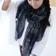 Cute Floral Print Silk Scarf For Women