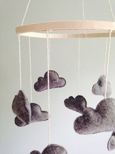 Olive + Bo --- Wool Felt Cloud Mobile