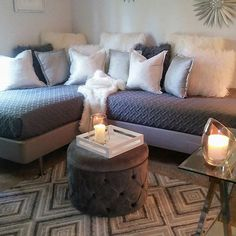 42 DIY Sofa Plans [Free Instructions] - Girls need a cave too! Transformed this guest room into a girl cave. The two existing twin beds re - Twin Bed Couch, Daybed Couch, Diy Daybed, Diy Twin Mattress Couch, Corner Twin Beds, Two Twin Beds, Diy Sofa, L Shaped Twin Beds, Guest Bedrooms