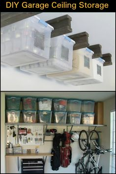DIY Garage Ceiling Storage Running out of storage? You can maximize space with this DIY garage ceiling storage idea. Garage Floor Paint, Garage Walls, Garage Doors, Garage Art, Garage Flooring, Small Garage, Garage Interior, Modern Garage, Car Garage