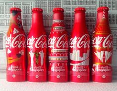 Singapore SG50 National Day celebration Aluminum Coca Cola 5 Bottles 2015