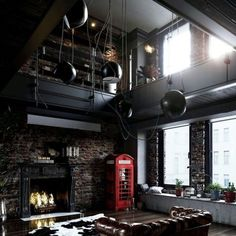 Industrial Living Room Design Idea with Blackened Steel Decor and Concrete Wooden and metal decor, loft design, industrial interior style Vintage Industrial Decor, Industrial Living, Industrial Loft, Industrial Interior Design, Industrial Interiors, Contemporary Interior, Loft Interior, Home Interior Design, Interior Designing