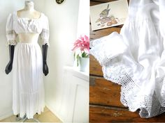 Underskirt White silky satin Maxi slip Romantic boho country Petticoat High waisted lingerie, crochet lace seam Austrian fashion by SuitcaseInBerlin on Etsy