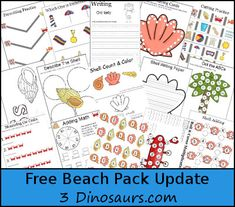 Free Beach Pack Update - over 50 pages added to the original pack - 3 Dinosaurs.com
