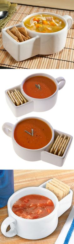 Soup and cracker mug // clever! You can use it for snacks and dip, too! #product_design great idea!!