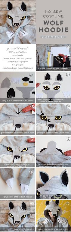 No-sew wolf hoodie using black, grey, yellow and white felt. So simple! .