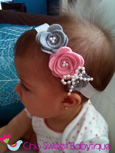 Gray and pink felt flower with pearls bow headband - baby headband - girl headband - felt flowers.