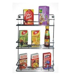 Swastik Silver Stainless Steel Triple Shelf 14 Inch