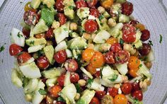 Jersey Fresh Tomato Cucumber Salad with Avocado and Chickpeas - full recipe