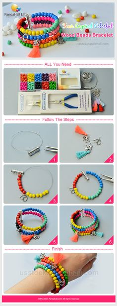DIY layered colorful bracelet with Pandahall Elite jewelry