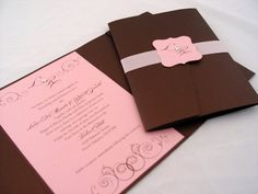 Elegant Pink and Brown Wedding Invitation. $6.50, via Etsy.