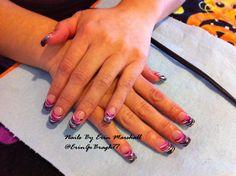 pink and zebra Acrylic nails #nailart  Www.facebook.com/eMarshallArts77