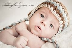 Baby Boy Hat, Newborn Boy Brown Crochet Hat in  Blue and White Earflap, Great for Photo Prop