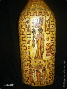 Декор предметов Декупаж Египет и хвастик Бутылки стеклянные Клей Краска Салфетки фото 5