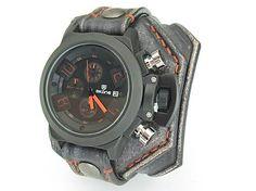 leon / Vintage čierne hoidinky, oranžovo červená niť, military hodinky
