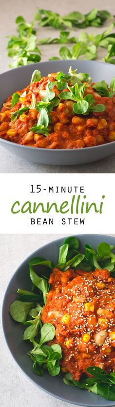 (Vegan and GF) 15-Minute Cannellini Bean Stew #vegan #glutenfree