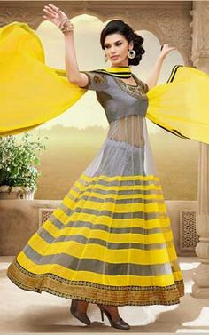 Yellow and grey anarkali suit..