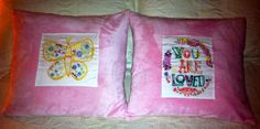 Embroidered pillows for Valentine's day - gifts for the girls Embroidered Pillows, Valentine Day Gifts, Diy Projects, Throw Pillows, Girls, Blog, Gifts For Valentines Day, Cushions, Toddler Girls