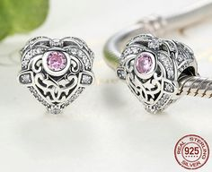 Sterling 925 silver charm beauty heart bead pendant fits Pandora charm and European charm bracelet Sterling Silver Jewelry, 925 Silver, Silver Earrings, Silver Charms, Pandora Charms, Diy Jewelry, Heart Ring, Great Gifts, Charmed