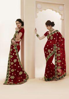 USD 80.15 Maroon Kasab Work Bridal Saree  32459