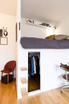 Loft bed with wardrobe &; Storage ideas loft bed with wardrobe &; Storage space ideas Kelly-Sue Strnk kellysuestrnk children's room ideas loft bed with wardrobe loft bed with wardrobe loft bed wardrobe The post […] for home bedroom kids bed Small Rooms, Small Apartments, Small Spaces, Studio Apartments, Small Beds, Bedroom Small, Bed With Wardrobe, Bedroom Wardrobe, Small Room Design