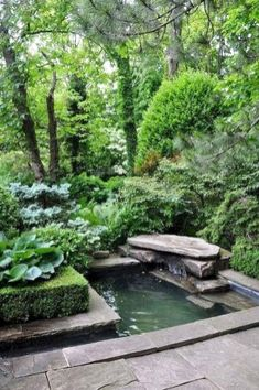 Garden and landscaping trees and plants around the garden Pond Garden and lands Diy Water Feature, Backyard Water Feature, Ponds Backyard, Backyard Ideas, Koi Ponds, Patio Ideas, Pergola Ideas, Fish Pond Gardens, Ponds For Small Gardens