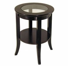 Wood End Table Round Glass top Nightstands Furniture Shelf Storage Display